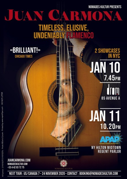 Juan Carmona: 2 shows in NYC in January